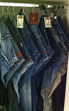 Hanging jeans this way saves space.