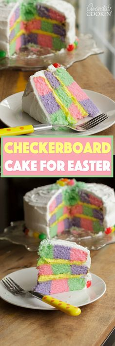 This Checkerboard Cake is the perfect treat for Easter- impress your friends and family with a colorful cake for the holiday! Cake Mix Cupcakes, Cake Cookies, Cupcake Cakes, Delicious Cake Recipes, Yummy Cakes, Fun Cakes, Checkerboard Cake, Cake Decorating Icing, Cake Pop Stands