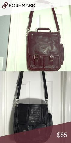 Genuinely leather Frye cross body satchel This is perfect unisex satchel for any business! Soft like glove leather and in perfect condition. Holds a laptop, phone, files business cards and more! Frye Bags Laptop Bags