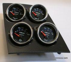 1968-1974 Nova Console Carbon Fiber Finish Quad Pod with AutoMeter Cobalt Electric Gauges.