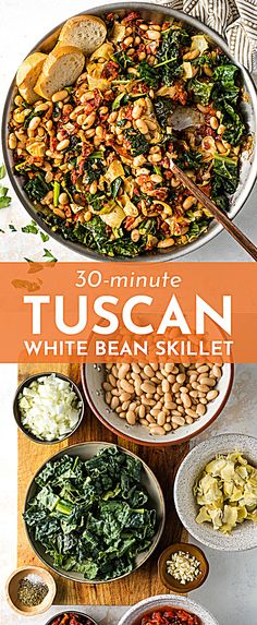 vegetarian recipes dinner A Tuscan White Bean Skillet is the ultimate way to change up your easy weeknight meals! Great flavors from garlic, sun-dried tomatoes, and artichoke hearts, and easy to make in under 30 minutes! Whole Foods, Whole Food Recipes, Cooking Recipes, Mixed Veggie Recipes, Meatless Whole 30 Recipes, Dessert Recipes, Carrot Recipes, Ham Recipes, Pudding Recipes