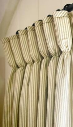 Window Treatments - Goblet Pleated drapes embellished with a banded trim down the lead edge and the stripe cut on the bias at the top of the pleat and outside the banding. It's all in the details. Curtains And Draperies, Drapery Panels, Window Drapes, Window Coverings, Valances, Curtain Trim, Pleated Curtains, Panel Curtains, Drapery Styles