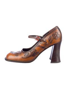 Prada F/W 1996 flower-applique maryjane heels
