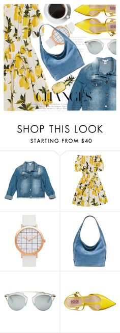 """""""Floral Printed Dress Denim Jacket"""" by jiabao-krohn ❤ liked on Polyvore featuring Sans Souci, Dolce&Gabbana, MICHAEL Michael Kors, Christian Dior and Mojo Moxy"""