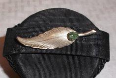 40s 50s Vintage 12K GF Leaf Brooch with Moss by MyVintageHatShop