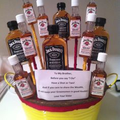Pre Wedding Gift Basket For Bride : Alcohol basket! Made it for my brother for before his wedding!