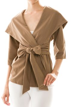 """09/12/14 80-XA0770 Solid Self-Tie Coat in 9 colors (Mustard, Mocha, Purple, Charcoal, Royal Blue, Rust, Ivory, Black and Teal). Available in S, M or L. 65% Poly, 30% Rayon, 5% Spandex. 27"""" long. Shown in Mocha"""