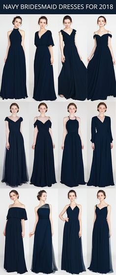 dark navy bridesmaid dresses 2019 with sizes and colors Navy Bridesmaids, Navy Blue Bridesmaid Dresses, Wedding Bridesmaid Dresses, Wedding Entourage Dress, Trendy Dresses, Nice Dresses, Dresses Dresses, Long Dresses, Evening Dresses