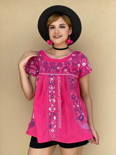 Mexican embroidered womens top, floral embroidery shirt, pink summer blouse, SMALL colorful peasant shirt, mexican party, purple embroidery Mexican Blouse, Mexican Outfit, Shirt Embroidery, Floral Embroidery, Floral Tunic, Floral Tops, Romper Pattern, Mexican Party, Summer Blouses