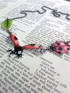 Lady birds shrink plastic necklace original by AnniesFingers, €21.00