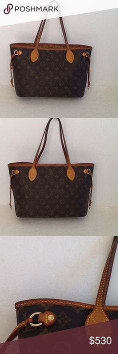 Authentic Louis Vuitton Never-full PM Shoulder Bag The bag is small size. The leather trim and straps showed signs of used. The top leather trim had some crack. The date code is VI 5019. The bag was made in France. The dimension is 8, 14 and 5. Louis Vuitton Bags Shoulder Bags