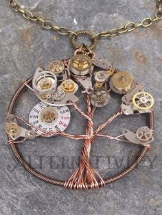steampunk tree of life - hand crafted pendant using twisted ...