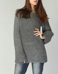 Punto de sweater suéter largo del Eco algodón gris por MaxMelody