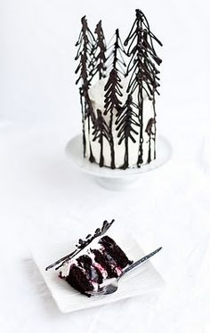 Great idea, make chocolate trees to add edible detail to a plain cake. the blog this is linked to has great ideas, recipes but hard to pin.
