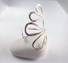 Hammered Sterling Silver Ring Modern Wave Ring by LiuRokSilver, $42.00