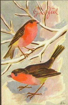 Julekort Edvarda Lie, Småfugler. Utg Oppi. Stemplet 1950.