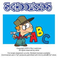Cartoon clipart of kids in school