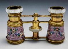 Antique French Purple Guilloche Enamel MOP Opera Glasses Binoculars