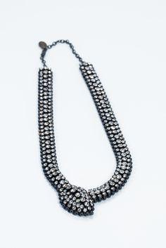 Vittorio Ceccoli- Swarovski Crystal Snake necklace with extender Row