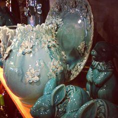 Pier 1 Aqua Ceramic Vase, Aqua Blossoms Relief Platter and Turquoise Bunnies