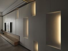 Yan Rock architectural space planning office Interior Desing, Interior Walls, Interior Lighting, Modern Interior, Hotel Architecture, Wall Cladding, Living Room Designs, Modern Design, Wall Decor