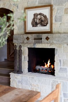 The Nantucket house, studio, and guesthouse all seamlessly relate to the multiple outdoor living areas. Home Fireplace, Fireplace Remodel, Fireplace Design, Fireplaces, Home Interior Design, Interior Decorating, Sustainable Building Materials, Stone Mantel