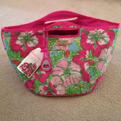 """Insulated beverage bucket Brand new Lilly Pulitzer cooler. 21"""" by 16"""" by 12.75"""" in big flirt print. Beverage opener included. Lilly Pulitzer Bags Totes"""