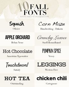 10 Free Fall Fonts • She Uncovered  ~~ {9 free and 1 pay font w/ links}