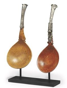 TWO SWISS BURR-MAPLE AND SILVER-MOUNTED SPOONS CIRCA 1600