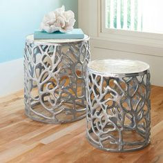 Coral Mother of Pearl Tables, Set of Two