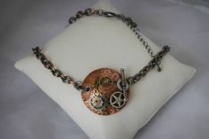Vintage Steampunk Necklace, Distressed Steampunk Pendant with Watch Gears, Rustic Metal Jewelry Disc, Vintage Steampunk Pattern by FUELL on Etsy $24.99 ***15% off with Coupon Code: PIN15