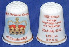 ROYAL BABY GEORGE CAMBRIDGE COMMEMORATIVE THIMBLE - With name and birth details