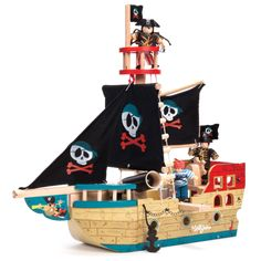 Jolly Pirate Ship by Le Toy Van. Spotted on the horizon and now sailing into port, it's the The Jolly Pirate Ship from Le Toy Van. Wooden Toy Castle, Wooden Toys, Christmas Gift Guide, Christmas Gifts For Kids, Christmas 2015, Xmas, Designers Guild, House Doctor, Van Kitchen