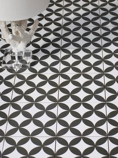 Black and white decorative tile floor