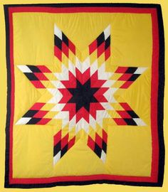 Traditional Yellow 128 Diamond Star Blanket Front View Half Sleeve Tattoo Template, Tattoo Templates, Lone Star Quilt, Star Quilts, Star Blanket, Star Quilt Patterns, Beaded Lanyards, Sacred Symbols, Quilting Designs