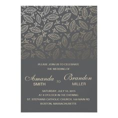 "Scattered Leaves Faux Foil Wedding Invitation-Coal 5"" X 7"" Invitation Card"