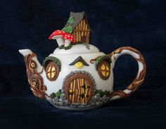 Teapot Hobbit's house by Thingsforshelves on Etsy