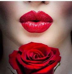 Luscious red lips and stunning red rose. Beautiful Lips, Beautiful Flowers, Lip Art, Shades Of Red, Red Lipsticks, Belle Photo, My Favorite Color, Lip Colors, Colours