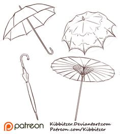 Umbrellas Reference Sheet by Kibbitzer.deviantart.com on @DeviantArt