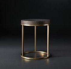 Nicholas Oak Round Occasional - Brown w/ Brass (MODCASE15) | RH Modern