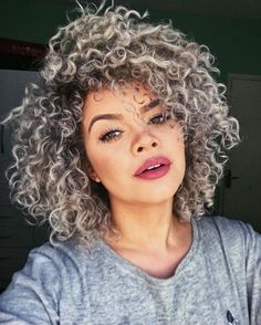 Synthetic+Lace+Front+Wig+Women's+Curly+Dark+Gray+Bob+Synthetic+Hair+African+Amer… - Modern Curly Hair Styles, Grey Curly Hair, Curly Hair With Bangs, Short Curly Hair, Curly Girl, Curly Hair Cuts Medium, Short Bangs, Deep Curly, African Hairstyles