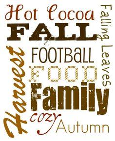 Fall Words Printable: Hot cocoa, Fall, Football, Family,....