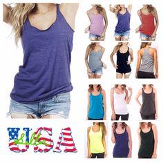 Women T-Shirt Tank Top Loose Fit Racerback Sleeveless Tops Fashion Gym Yoga Usa