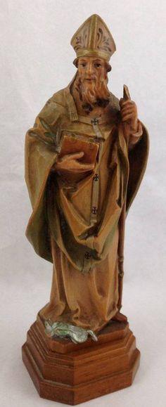 Vintage ANRI St Patrick Bishop Hand Carved Wood Religious Figure Patron Ireland