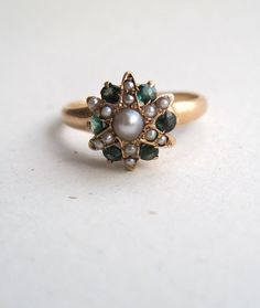 Antique Victorian Pearl Emerald and 14k Gold Star Ring