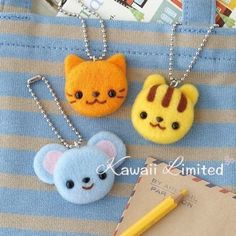 Hamanaka Needle Felting Kit - Mouse, Cat, Squirrel Charm Chain