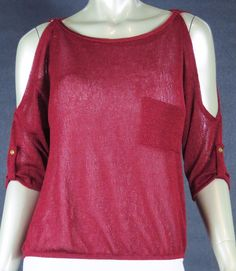 B ENVIED WORK CASUAL SUMMER SHORT SLEEVE PEEK-A-BOO SHOULDER KNIT BLOUSE LARGE #BENVIED #KnitTop #Casual