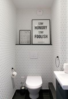 Toilettes en noir et blanc Appartement Parisien de 120m2- Gcg Architectes