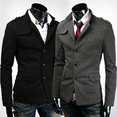 Men's Winter Outdoor Jacket Mens Woolen Coat Stand Collar Western-style Clothes