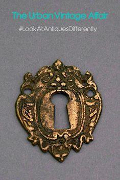 Antique Door Key Hole Escutcheon Brass Eastlake . KH1